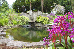 Charca de agua casera del noroeste americana de la primavera con el jardín del paisaje Fotos de archivo