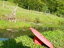 Charca de pesca con el sombrero rojo en frente Imágenes de archivo libres de regalías