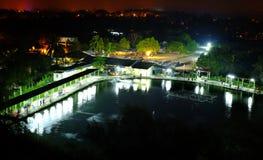 Charca de pesca del paisaje de la noche del campo Imagen de archivo