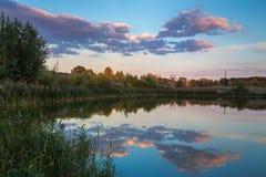 Charca en campo en otoño en la puesta del sol Imagenes de archivo