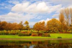Charca en un parque en otoño Imagen de archivo