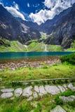 Charca hermosa en el medio de las montañas en el verano Imagen de archivo libre de regalías