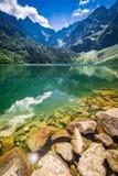 Charca maravillosa en las montañas en la salida del sol en verano Fotografía de archivo libre de regalías