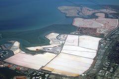 Charcas de la evaporación de la sal Foto de archivo libre de regalías