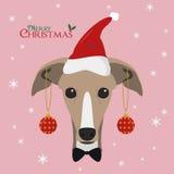 Charcica pies z czerwonym Santa ` s kapeluszem i royalty ilustracja