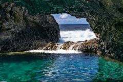 Free Charco Azul Volcanic Cavern, Natural Volcanic Ocean Pool With Turquoise Ocean Water In A Volcanic Cavern Stock Image - 156590871