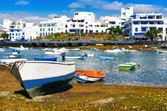 Charco de San Gines, Arrecife, Lanzarote, kanariefågelöar, Spanien royaltyfri bild