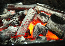 Charcoal. Close-up of charcoal on fire Royalty Free Stock Photos