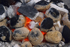 Charcoal 13. Hot charcoal - it is barbecue time Stock Image