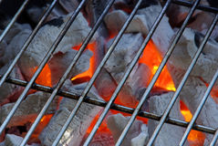 Charcoal 14. Charcoal, grill fire as background Stock Photography