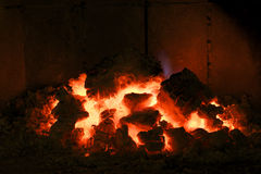 Charcoal. Photography of charcoal fire in a fireplace stock photo