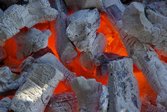 Charcoal. Hot fire in the grill, charcoal Royalty Free Stock Images