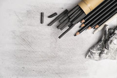 Charcoal arts. Charcoal art painting pencils, smudging and other equipment stock photo