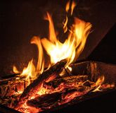 Fire for barbecue. Charcoal in barbecue for cooking meat and vegetables royalty free stock images