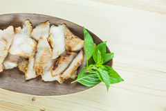Charcoal-boiled grilled pork neck (Or Ko Mu Yang in Thai language). It's one of most popular foods in Thailand Stock Photography