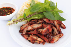Charcoal boiled pork neck, Grilled Pork Neck, Roasted pork with Thai Spicy. Royalty Free Stock Images