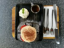Charcoal bread lava dessert Stock Photo