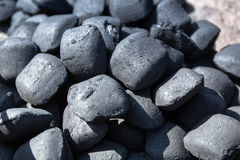 Charcoal briquettes. For barbecue royalty free stock image