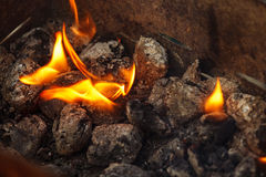 Charcoal briquettes ready for barbecue grill. Stock Photography