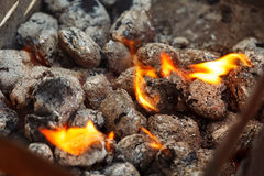 Charcoal briquettes ready for barbecue grill. Stock Images