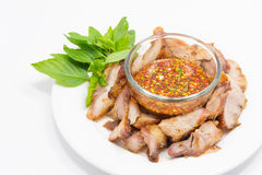 Charcoal broiled pork with spicy dipping Royalty Free Stock Image