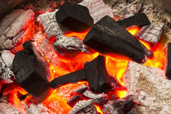 Charcoal burn fire background Royalty Free Stock Images