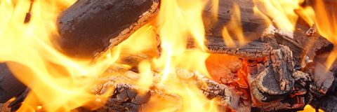 Charcoal Burning in BBQ or in the Fireplace Royalty Free Stock Photos