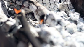 Charcoal. Burning charcoal. Closeup. Preparing wood ember for barbecue grill stock footage
