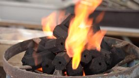 Charcoal burning stock footage