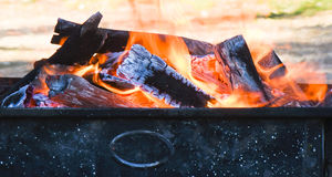 Charcoal burning in mangal for preparation for cooking meat. Stock Image