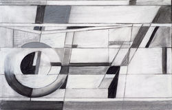 Charcoal and chalk study. For an abstract painting Royalty Free Stock Photo