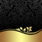 Charcoal damask Background with golden floral Border. Royalty Free Stock Photography
