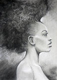 Charcoal drawing black woman portrait Royalty Free Stock Photo