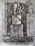 Charcoal drawing. Composition with black charcoal on manila paper Royalty Free Stock Photography