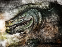 Charcoal drawing of a fierce dragon. A charcoal drawing of a mythical fierce dragon with a lot of teeth.  This can be a sea serpent as well.  Concept for Royalty Free Stock Image