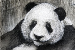 Charcoal drawing panda. A hand drawn charcoal and pan pastel drawing of an adult black and white panda sitting with bamboo forest as a backdrop Royalty Free Stock Image
