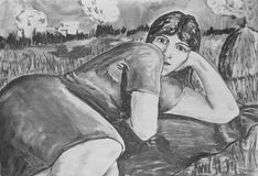 Girl resting on the nature. Charcoal drawing on paper. Portrait of a beautiful girl Royalty Free Stock Image