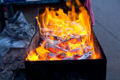 Charcoal fire. Royalty Free Stock Photos