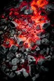 Charcoal fire. Red charcoal in the fire Stock Photos