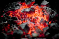 Charcoal fire. Red charcoal in the fire Royalty Free Stock Images
