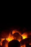 Charcoal fire for barbeque stock image