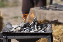 Charcoal fire flames Stock Photo