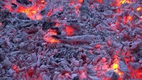 Charcoal glowing with colorful orange light in firewood campfire flame fireplace in gorgeous satisfying 4k close up shot stock footage