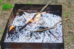 Charcoal grill on background of green park ready for grilling. R stock photo
