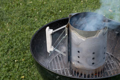 Charcoal Grill with Chimney Stock Photos
