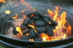 Charcoal Grill with Flames on Coals Royalty Free Stock Images
