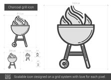 Charcoal grill line icon. stock illustration
