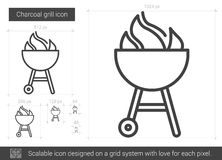 Charcoal grill line icon. vector illustration