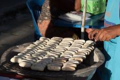 Charcoal grilled banana. Street food at walking street market Koh Phangan, Thailand Stock Photos