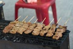 Charcoal grilled barbecue. Street food at walking street market Koh Phangan, Thailand Royalty Free Stock Images